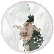 The Looking Glass Forest Man Round Beach Towel