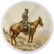 The Lookout Round Beach Towel by Frederic Remington
