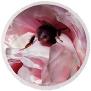 The Lost Bee  Round Beach Towel