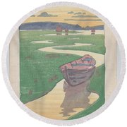 Round Beach Towel featuring the painting The Lost Boat , Arthur Wesley Dow by Artistic Panda
