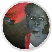 Round Beach Towel featuring the digital art The Lost Children Of Aleppo by Joseph Hendrix