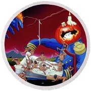 Round Beach Towel featuring the painting The Lost Revolution by Paxton Mobley