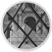The Louvre From The Inside Round Beach Towel