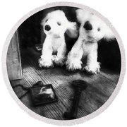 The Love Of A Dog Round Beach Towel