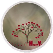 Round Beach Towel featuring the photograph The Love Tree by Darren Fisher