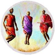 The Maasai Jump Round Beach Towel