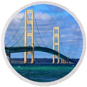 The Mackinac Bridge Round Beach Towel