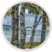 The Mackinaw Bridge By The Straits Of Mackinac In Autumn With Birch Trees Round Beach Towel