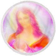 The Madonna Of Compassion Round Beach Towel
