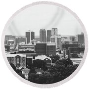 Round Beach Towel featuring the photograph The Magic City In Monochrome by Shelby Young