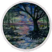 Round Beach Towel featuring the painting The Magic Hour by Reed Novotny