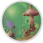 The Mushroom Gatherer Round Beach Towel