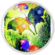 The Magic Of Butterflies Round Beach Towel
