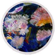 The Magic Of Flowers Round Beach Towel by Nancy Kane Chapman