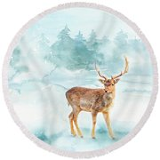 Round Beach Towel featuring the painting The Magic Of Winter  by Colleen Taylor