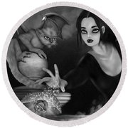 The Magic Rose - Black And White Fantasy Art Round Beach Towel