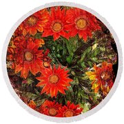 The Magical Flower Garden Round Beach Towel