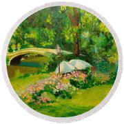 The Magnificent Bow Bridge Round Beach Towel