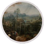 The Magpie On The Gallows Round Beach Towel by Pieter Bruegel the Elder
