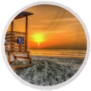 Round Beach Towel featuring the photograph The Main Attraction Tybee Island Sunrise Lifeguard Stand Beach Art by Reid Callaway