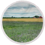 Farming Landscape Round Beach Towel