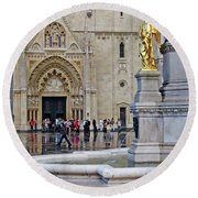The Main Portal Of Zagreb Cathedral Round Beach Towel