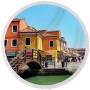 The Main Street On The Island Of Burano, Italy Round Beach Towel