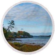 The Maine Coast Near Edgecomb  Round Beach Towel