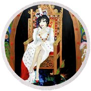 The Majestic Joan Collins D B E Round Beach Towel