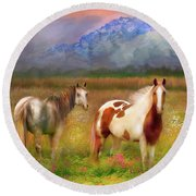 The Majestic Pasture Round Beach Towel