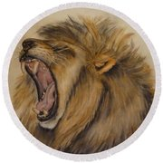 Round Beach Towel featuring the painting The Majestic Roar by Kelly Mills