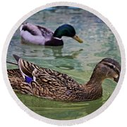 Round Beach Towel featuring the photograph The Mallard Pair by Mary Machare