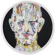 Round Beach Towel featuring the painting The Man Who Tried To Become A Mountain by Fabrizio Cassetta