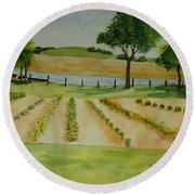Round Beach Towel featuring the painting The Mangan Farm  by Vicki  Housel