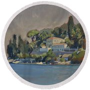 The Mansion House Paxos Round Beach Towel by Nop Briex