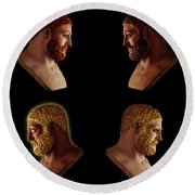 Round Beach Towel featuring the mixed media The Many Faces Of Hercules 2 by Shawn Dall