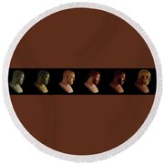 Round Beach Towel featuring the mixed media The Many Faces Of Hercules by Shawn Dall