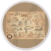 The Map Of The Enchanted Kira Round Beach Towel by Reynold Jay