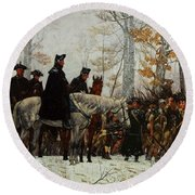 Round Beach Towel featuring the painting The March To Valley Forge, Dec 19, 1777 by William Trego