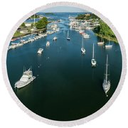 The Marina In Mamaroneck Round Beach Towel