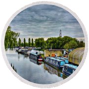 Round Beach Towel featuring the photograph The Marina by Isabella F Abbie Shores FRSA
