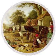 The Market Cart Round Beach Towel by Henry Charles Bryant