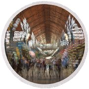 Round Beach Towel featuring the photograph The Market Hall by Alex Lapidus