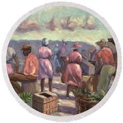 The Marketplace Round Beach Towel by Carlton Murrell