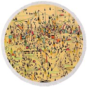 The Marketplace Round Beach Towel by Nancy Kane Chapman