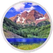 The Maroon Bells Round Beach Towel