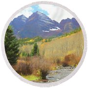Round Beach Towel featuring the photograph The Maroon Bells Reimagined 3 by Eric Glaser