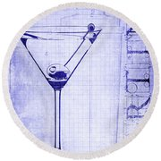 The Martini Blueprint Round Beach Towel