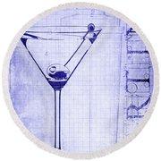 The Martini Blueprint Round Beach Towel