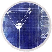 The Martini Patent Blue Round Beach Towel